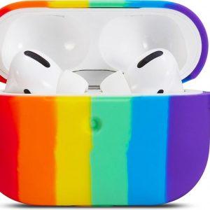Airpods Pro Case Cover - Rainbow Stripe - Airpods Pro Hoesje - Beschermend Omhulsel
