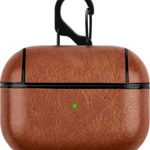 Airpods Pro hoesje luxe leer look - licht bruin lederen beschermcase