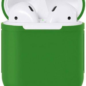Airpods Silicone Case Cover Hoesje Geschikt voor Apple Airpods 1 / 2 - Donker Groen