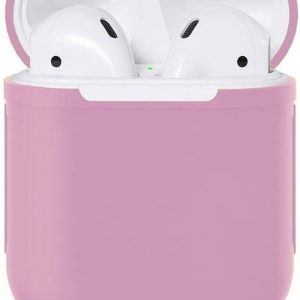 Airpods Silicone Case Cover Hoesje Geschikt voor Apple Airpods 1 / 2 - Lila