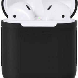 Airpods Silicone- Case -Cover- Hoesje geschikt speciaal voor Apple Airpods 1 / 2 - Zwart