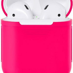 Airpods Silicone Case Cover Hoesje geschikt voor Apple Airpods 1 / 2 - Donker Roze