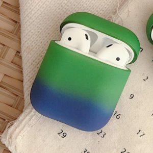 Airpods hoesje. mat Blauw Groen - Hard case - Airpods Case Matt Green Blue - Hard hoesje Fade