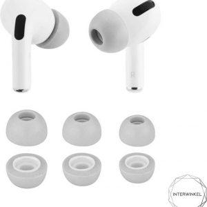 Airpods pro foam tips Interwinkel - Apple - In ear - Memory foam - 3 paar - Oordopjes - Sport - Saund isolation - Grijs - Maat S