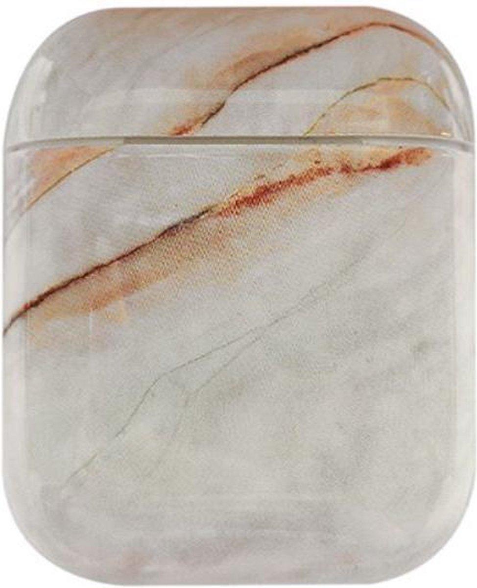 Apple AirPods Hard Plastic Hoesje met Marmer Print Wit / Bruin