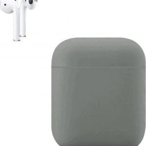 Apple AirPods Siliconen Hoesje   Licht Grijs   Bescherm Hoesje   Case Apple AirPods 1 en 2
