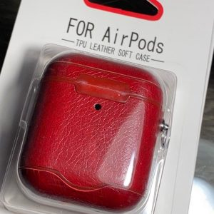 Apple Airpods 1/2 Luxe Kunstlederen Hoesje - Donkergroen
