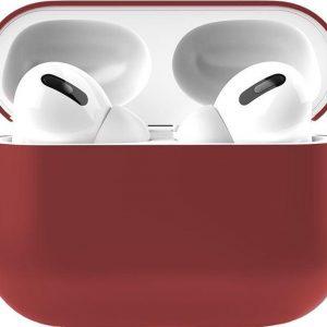 Apple Airpods Pro Siliconen - Case - Hoesje - Geschikt voor Apple Airpods Pro - Donker Rood