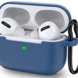 Apple Airpods Pro hoesje - Premium Siliconen beschermhoes met opdruk - 3.0 mm - Donker Blauw