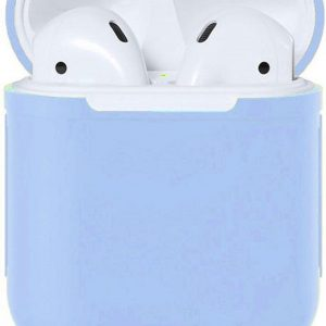 Apple Airpods Siliconen - Case - Cover - Hoesje - Speciaal voor Apple Airpods 1 en 2 - Lavendel Blauw