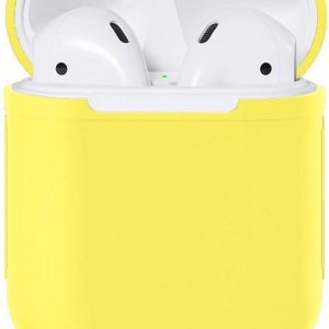 Apple Airpods Siliconen - Case - Cover - Hoesje - Speciaal voor Apple Airpods 1 en 2 - Licht Geel