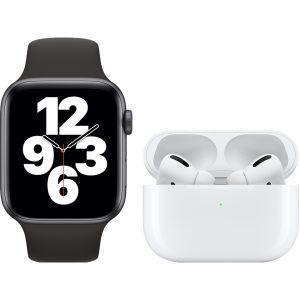 Apple Watch SE 44mm Space Gray Zwart Bandje + Apple AirPods Pro met Draadloze Oplaadcase