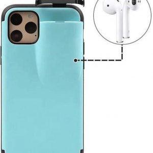 Apple iPhone X / XS - Beschermhoesje met AirPods houder 2 in 1 - Blauw