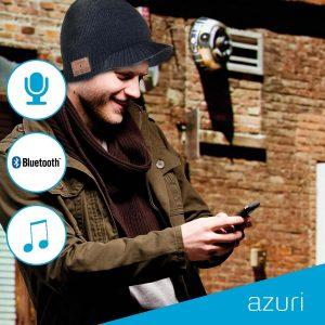 Azuri Beanie met bluetooth headset- grijs