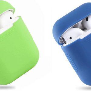 Bescherm Hoesje Cover SET 2 STUKS voor Apple AirPods Case -Lime green en donkerblauw