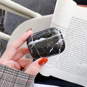 By Qubix - AirPods Pro hoesje Marble series - hard case - Marble zwart - Schokbestendig - AirPods hoesjes