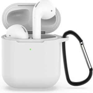 By Qubix - AirPods siliconen hoesje voor AirPods 1/2 - Transparant + handige clip - AirPods hoesjes