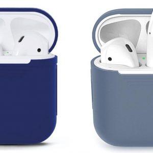 COMBI DEAL - 2 Stuks - Siliconen Bescherm Hoesjes Cover Blauw-Grijs en Blauw voor Apple AirPods 1+2 Case