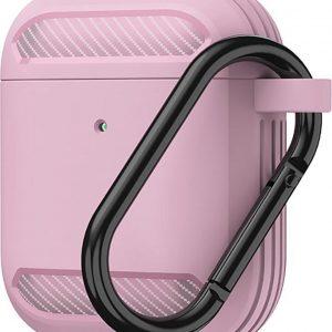 Carbon hoesje voor Apple Airpods Roze Case Shockproof Case