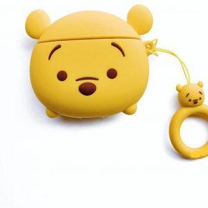 Cartoon Silicone Case Cover Hoesje voor Apple Airpods 2 - gele beer - met hanger