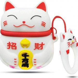 Cartoon Silicone Case voor Apple Airpods - Chinese lucky cat - wit