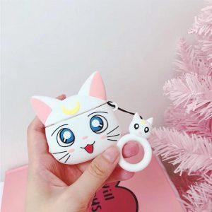 Cartoon Silicone Case voor Apple Airpods Pro - White luna cat