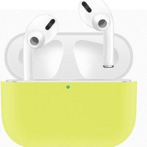Case Cover Voor Apple Airpods Pro- Siliconen design-Wit-Geel   Watchbands-shop.nl
