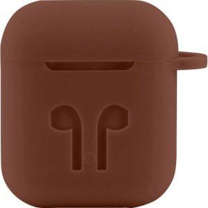 Case Cover Voor Apple Airpods - Siliconen Bruin | Watchbands-shop.nl