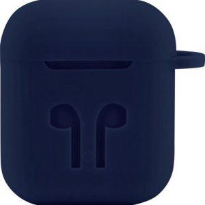 Case Cover Voor Apple Airpods - Siliconen Donkerblauw | Watchbands-shop.nl