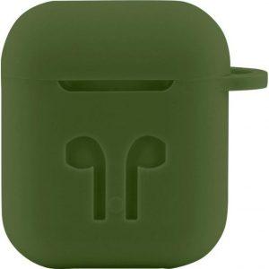 Case Cover Voor Apple Airpods - Siliconen Donkergroen | Watchbands-shop.nl