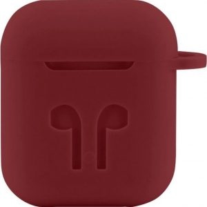 Case Cover Voor Apple Airpods - Siliconen Donkerrood | Watchbands-shop.nl