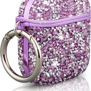 Casies Crystal AirPods case - Luxe glitter hoesje - AirPods 1 & 2 - Shockproof - Paars