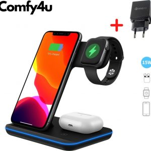 Comfy4u 2021 Ultimate - 3 in 1 Draadloze Oplader Inclusief Gratis Qualcomm Quick Charge 3.0 adapter en kabel - Voor iPhone Iphone / iWatch / Airpods 2 Pro / Samsung Galaxy / Huawei - Oplaadstation - Docking Station - Fast Charger - Snellader - Qi