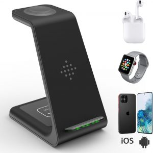 Culture Gadgets - 3 in 1 Oplaadstation - Draadloze Oplader - Iphone, Apple watch en Airpods Pro snellader draadloos - Android lader - Qi Wireless Charger