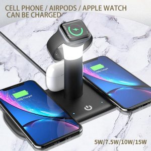 DKR - 5 in 1 oplaadstation zwart - Apple Iphone - Apple Watch - Apple Airpods - Android - Universeel - Draadloos laden - Wireless Charging - Snel laden - Fast Charging - LED verlichting - LED Light
