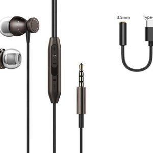 DrPhone Aero PRO - 2 in 1 - In-Ear - Comfort Oordoppen DAC - USB-C Adapter + Oortjes - Voor Android / Samsung - Zwart