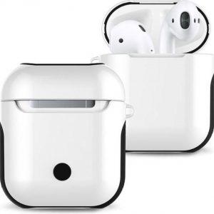 DrPhone Airpods 1 & 2 Hoes - Schokbestendige Harde PC + Zachte Rubberen Siliconen Cover - Wit/Zwart