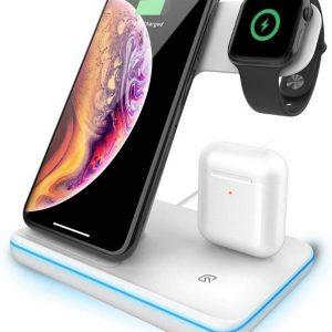 DrPhone - LEGEND series - 3 in 1 - Qi Wireless Dock Oplader Standaard - Thuislader / Kantoor - Geschikt voor o.a. Apple iPhone 11 / 11 Pro / MAX / XR + Apple Watch 3 / 4 / 5 / 6 + Apple Airpods 1 / 2 - Wit