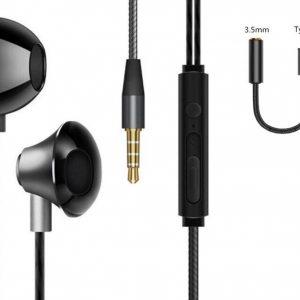 DrPhone M9P - 2 in 1 - In-Ear Oordoppen - USB-C + 3.5mm DAC Adapter - Oortjes + USB-C - Geschikt voor Android / Samsung - Zwart