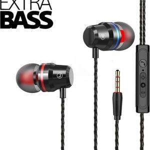DrPhone SoundLUX® In-Ear Bekabelde Oordoppen met Jack Aansluiting - Earbuds - Hoge BASS - Hi-Res - Siphon Black
