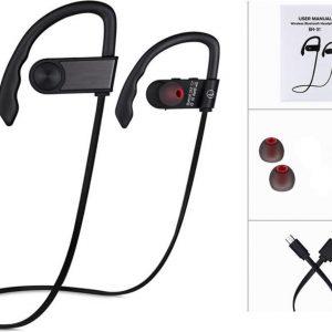 Draadloze bluetooth in ear sport oortjes headset - zweetbestendig - zwart