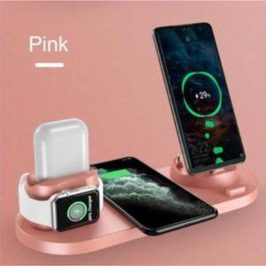 Draadloze oplader - 6 apparaten tegelijkertijd Snelladen - Snellader - Draadloos - Iphone - Smartwatch - Airpods - Android - Telefoon - Horloge - Pink - Roze
