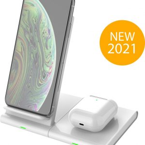 ExCorn 2-in-1 Draadloze Apple Oplader - Wireless Charger voor iPhone, Samsung, Smart Watch en Airpods - Qi Lader