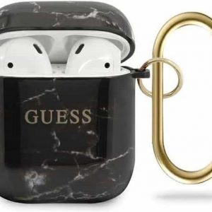 GUESS AirPods 1 & 2 Hoesje - Marble Collection - Zwart