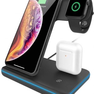 HMerch™ 3 in 1 Oplaadstation - iPhone / Apple / iWatch / Airpods 2 Pro / Samsung Galaxy / Huawei / Xiamoi / Android / Apple Watch - Oplaadstation iPhone - Oplaadstation Apple - Docking Station - Quick Charge - Snellader - Draadloze oplader - Zwart