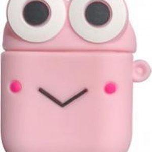Hidzo Hoes voor Apple's Airpods 1/2 - Smile - Roze - Siliconen