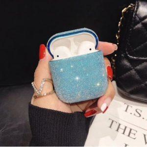 Hidzo hoes voor Apple's Airpods - Hard Case - Glitter - Blauw