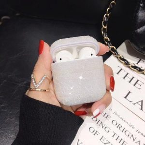 Hidzo hoes voor Apple's Airpods - Hard Case - Glitter - Wit