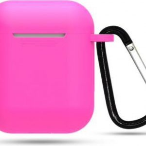 Hidzo hoes voor Apple's Airpods - Siliconen - Inclusie Karabijnhaak - Roze
