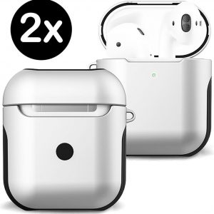 Hoes Voor Apple AirPods 2 Case Hoesje Hard Cover - Wit - 2 PACK